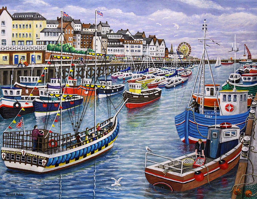 Bridlington harbour is a painting by ronald haber which was uploaded