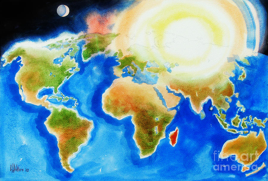 Bright Blue World Map In Watercolor With Sunshine And Moon  Painting
