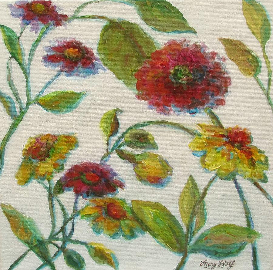 Bright contemporary floral painting by mary wolf for Bright flower painting