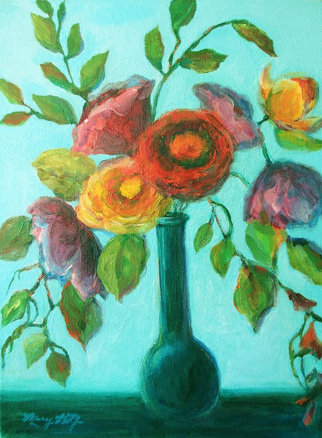 Bright flower bouquet painting by mary wolf for Bright flower painting