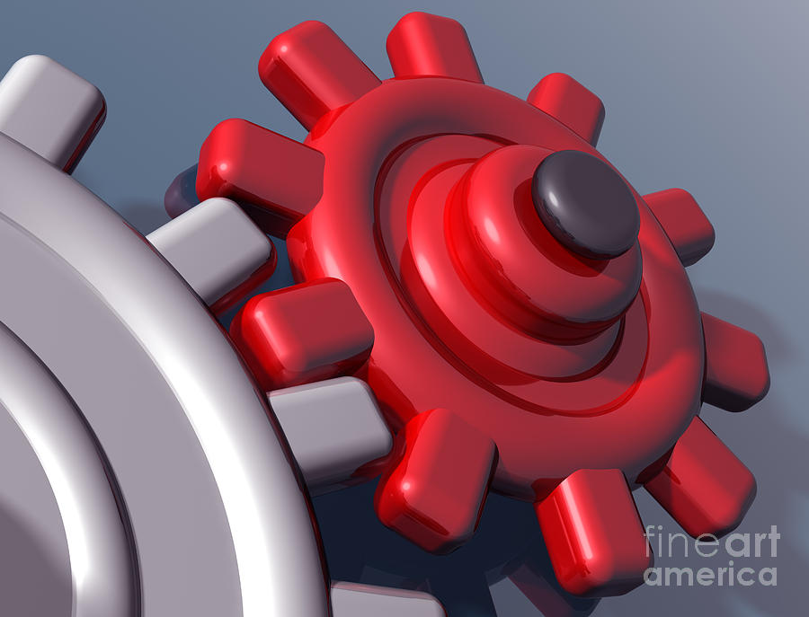 Brightly Colored Interlocking Gears Digital Art