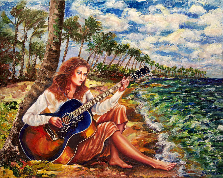 Woman Painting - Briny Blues by Yelena Rubin