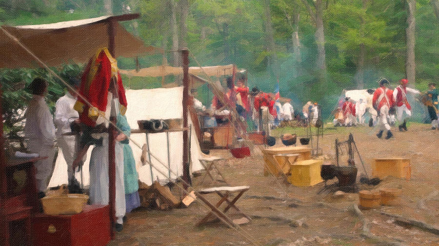 British Encampment In Woods Painting  - British Encampment In Woods Fine Art Print