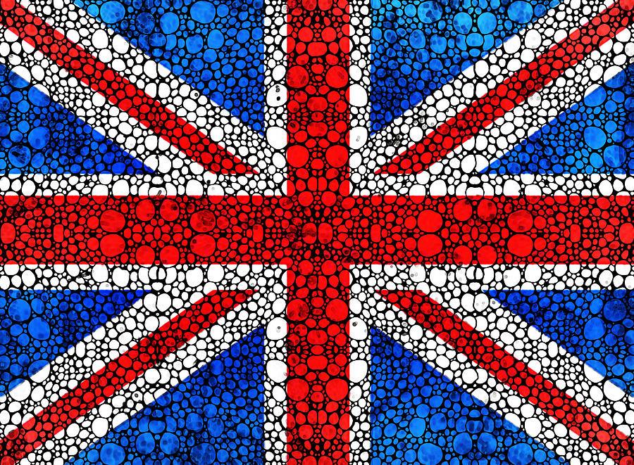 British Flag Painting - British Flag - Britain England Stone Rockd Art by Sharon Cummings