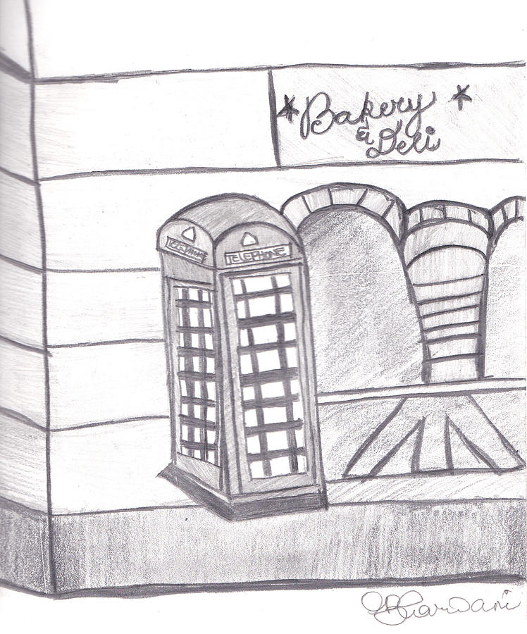 British Telephone Booth Drawing
