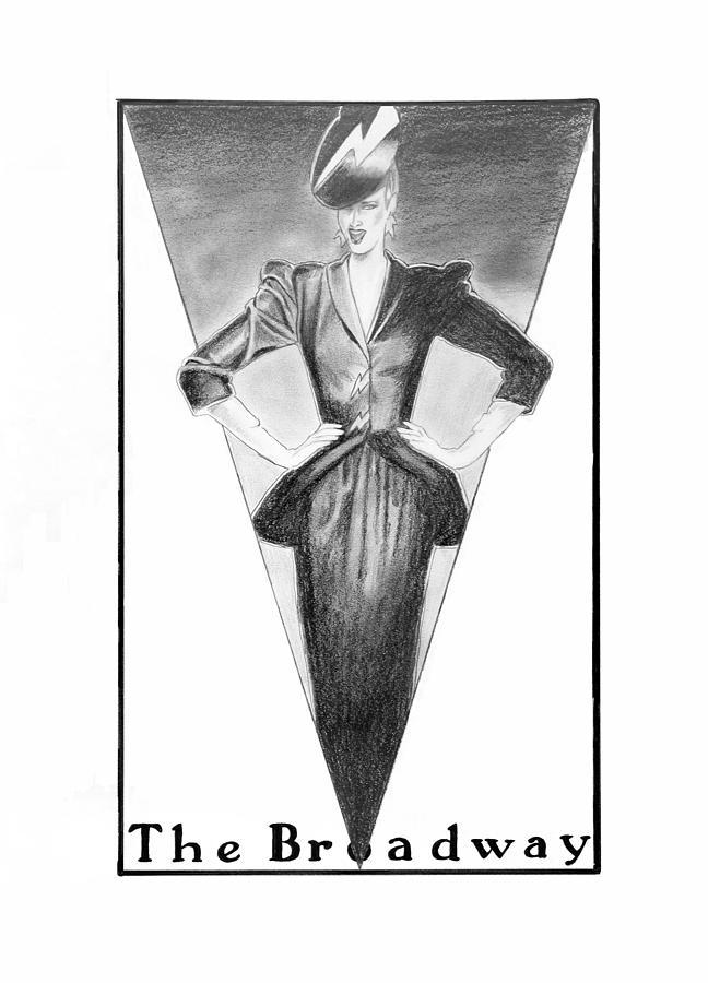 Fashion Illustration Drawing - Broadway Dame by Sarah Parks
