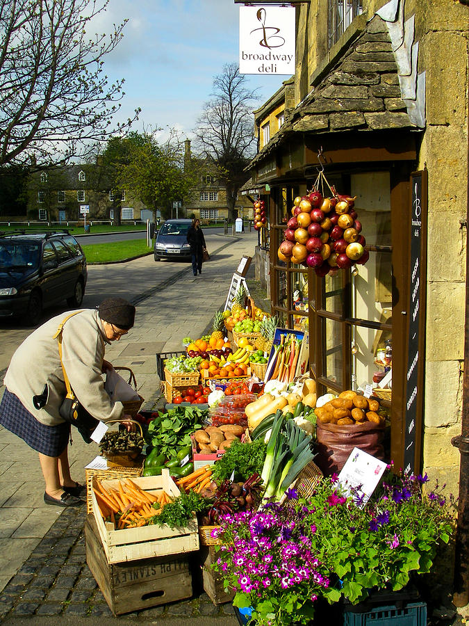 Broadway Deli And Fruit Stand On The Green Broadway Village Cotswold District England Photograph  - Broadway Deli And Fruit Stand On The Green Broadway Village Cotswold District England Fine Art Print