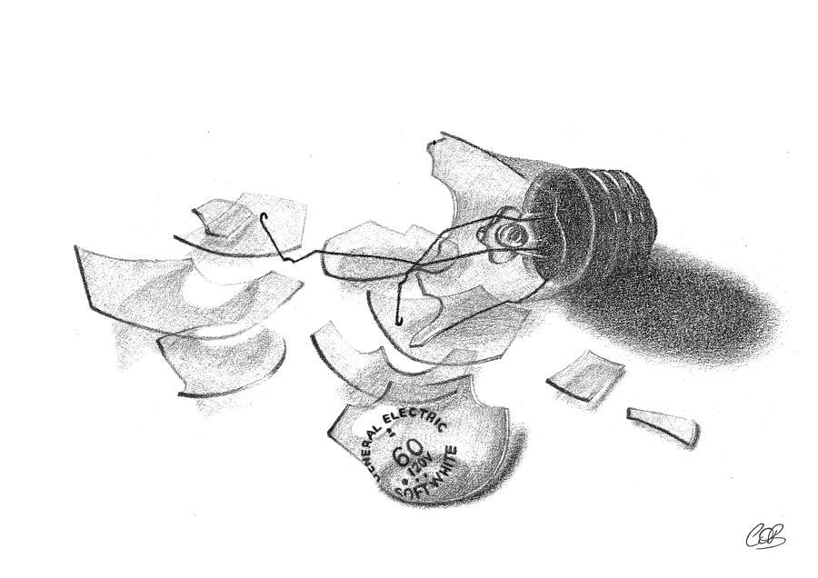 Broken Light Bulb Sketch Drawing