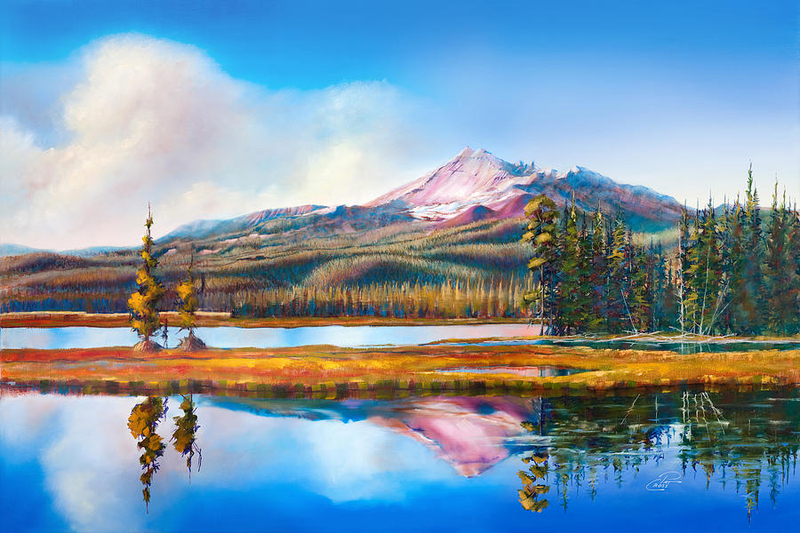 Broken Top On Sparks Lake Painting  - Broken Top On Sparks Lake Fine Art Print