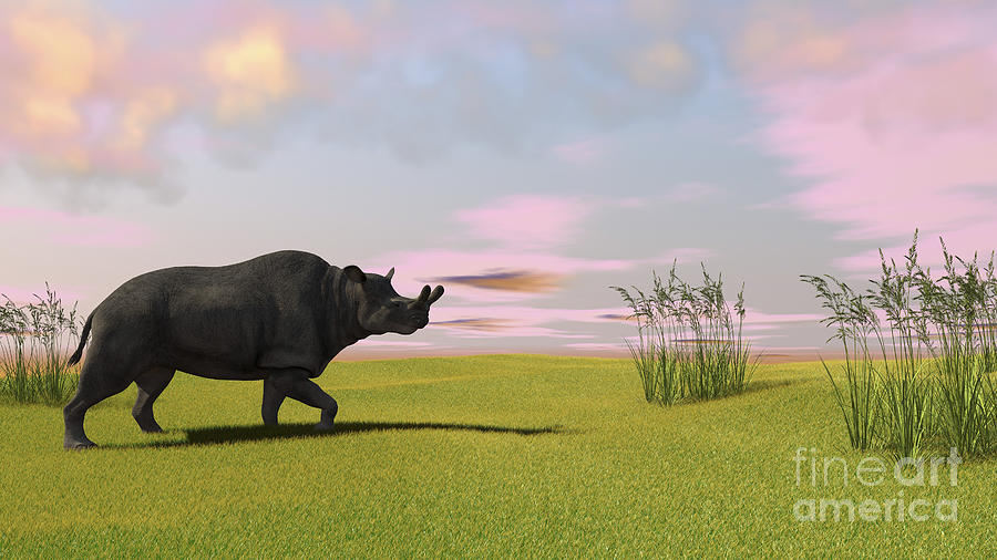 Brontotherium Grazing In Prehistoric Digital Art