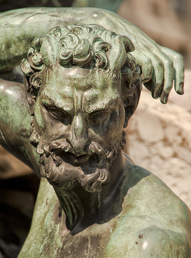 Bronze Satyr In The Fountain Of Neptune Of Florence Photograph