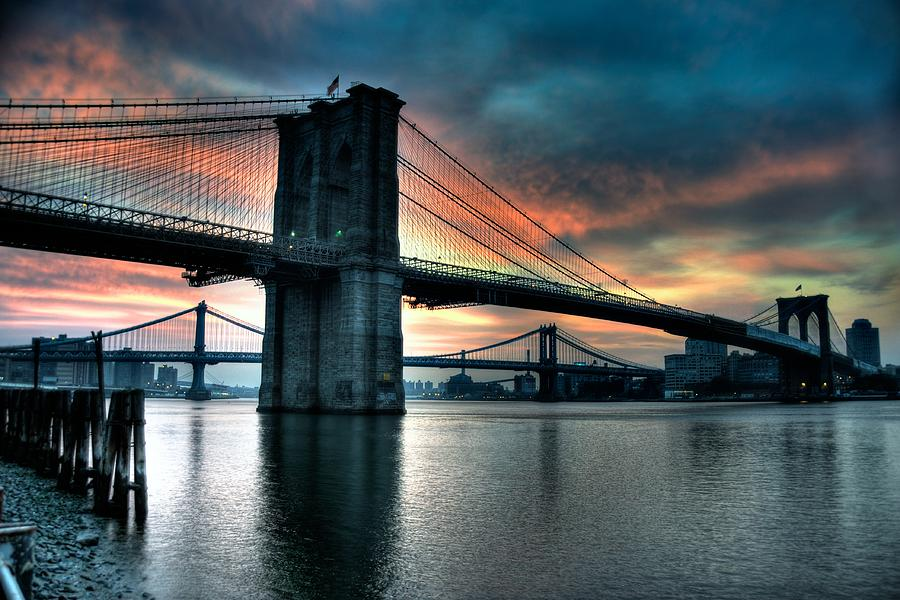 Brooklyn And Manhattan Bridges - Rosy Fingered Dawn Photograph