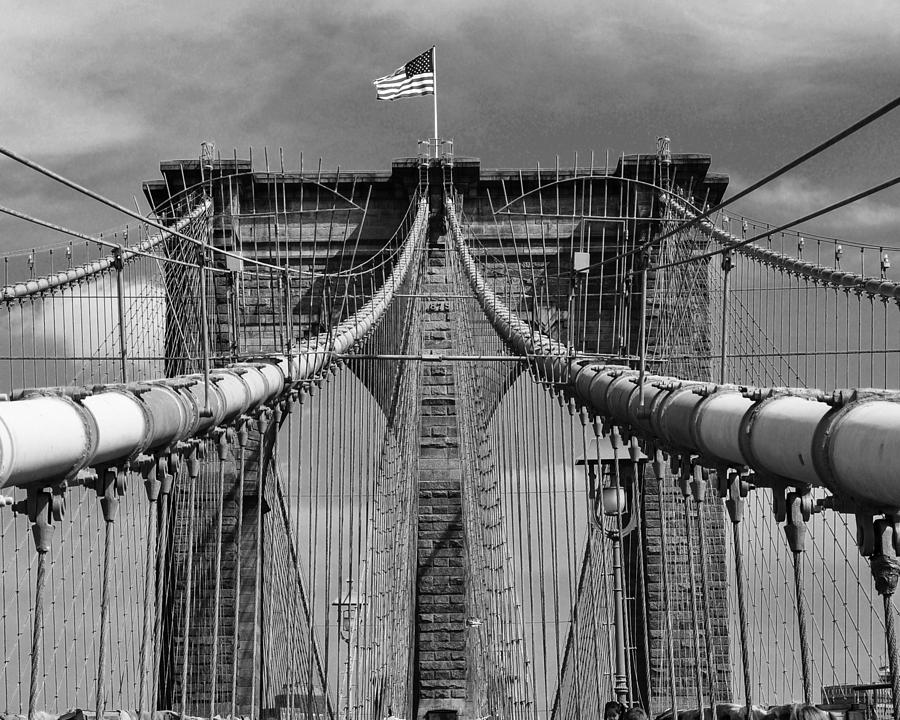 Brooklyn Bridge 2 Black And White Photograph by Sherri Quick