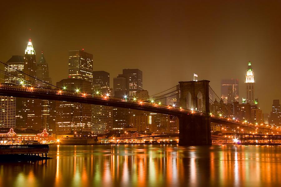 Brooklyn Bridge And Downtown Manhattan Photograph