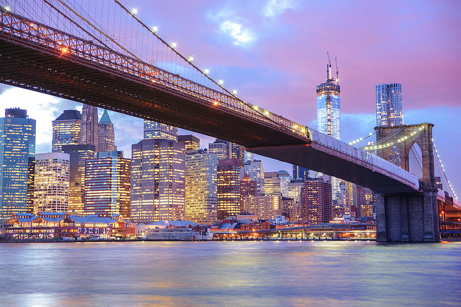 Brooklyn Bridge And New York City Skyscrapers Photograph  - Brooklyn Bridge And New York City Skyscrapers Fine Art Print