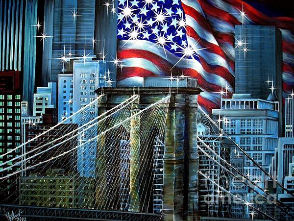 Brooklyn Bridge And Usa Flag. Patriotic Art Painting