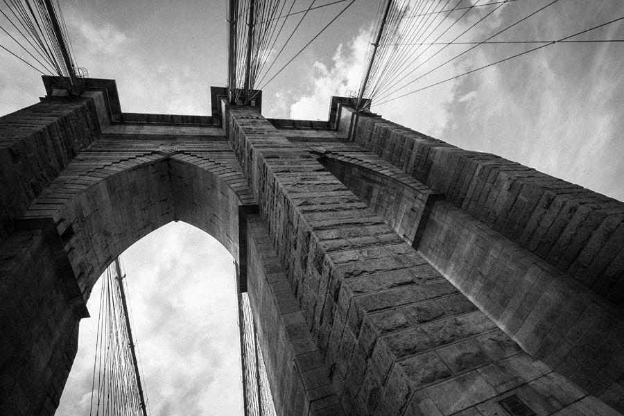 Brooklyn Bridge Detail In Black And White by Jakub Buza