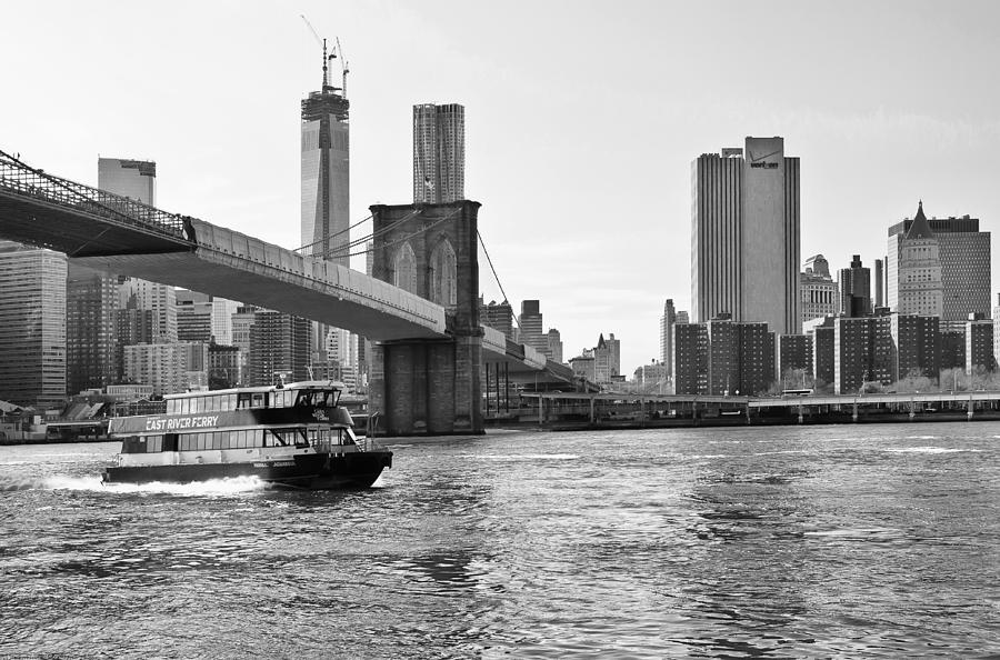 Brooklyn Bridge Ferry In Classic Black And White ...