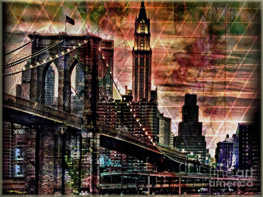 Brooklyn Bridge Mixed Media - Brooklyn Bridge II by Christine Mayfield