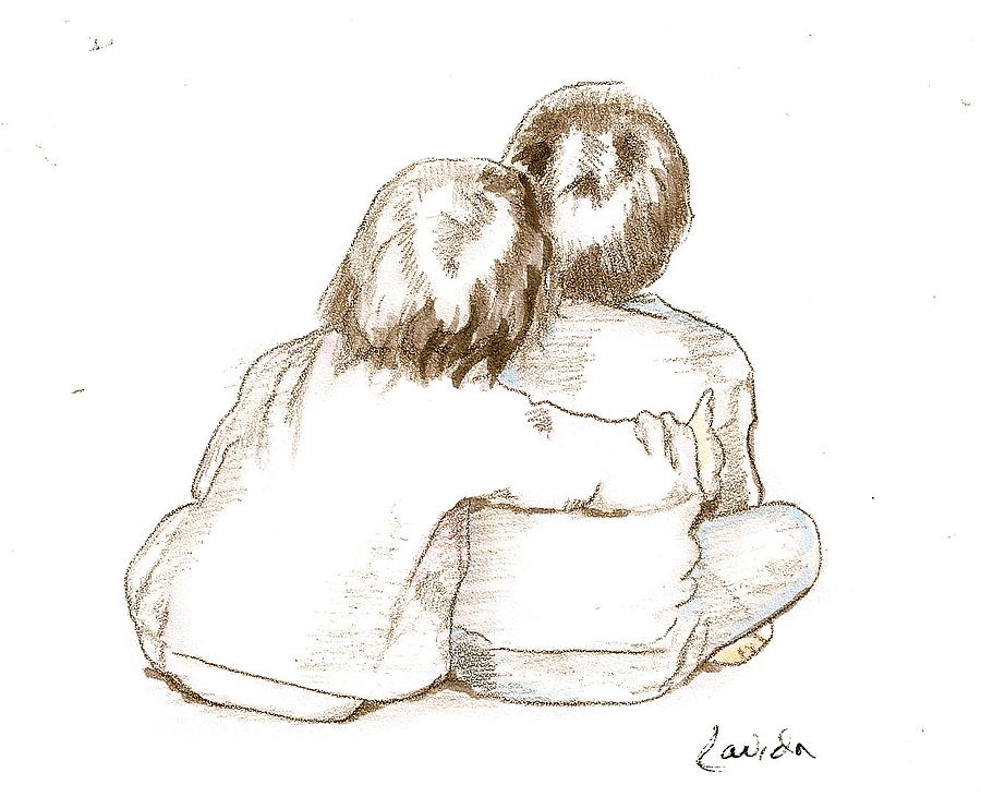 Brother And Sister Drawing By Janet Lavida