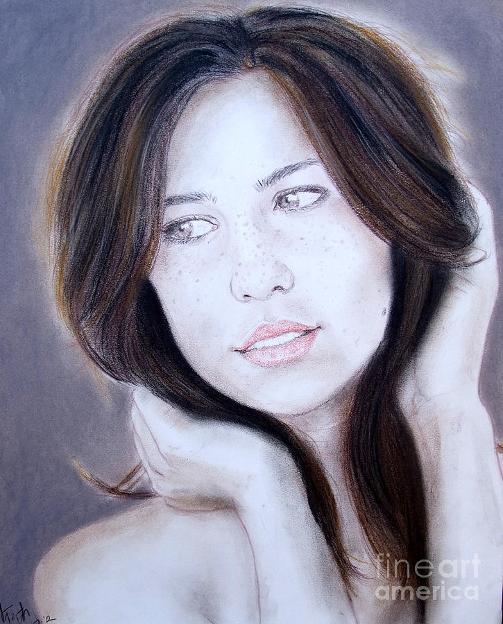 Brown Haired And Lightly Freckled Beauty Drawing