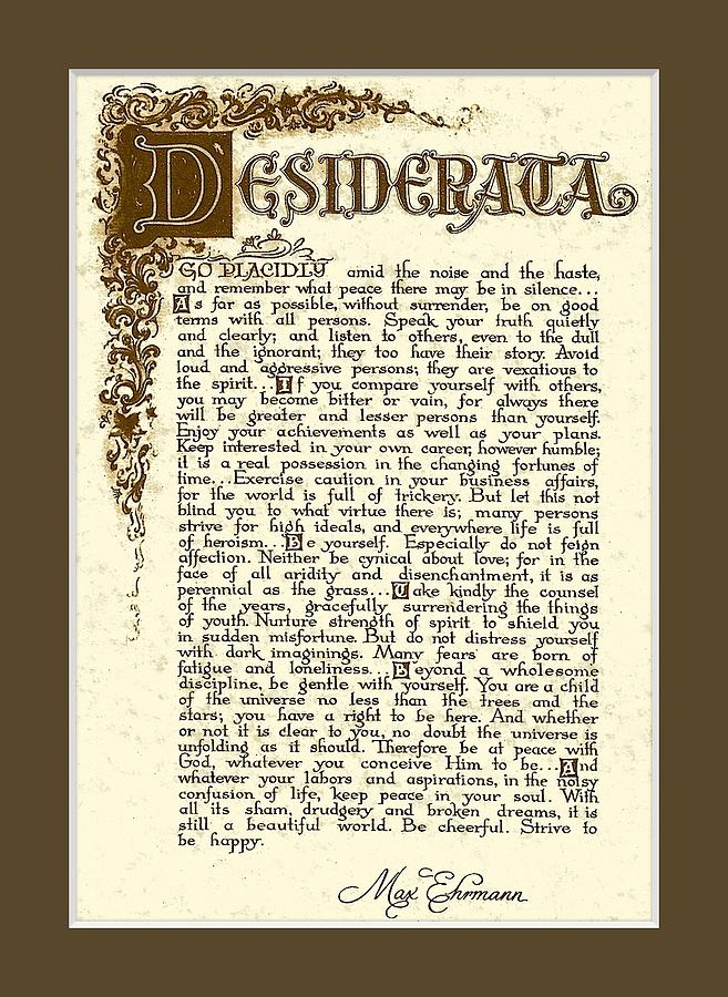 Desiderata Print Out Large Related Keywords Desiderata