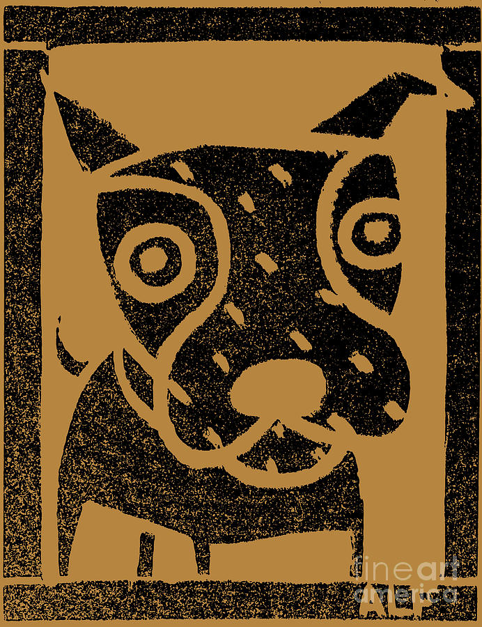 Brown Paper Dog #2 Painting  - Brown Paper Dog #2 Fine Art Print