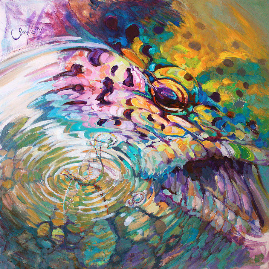 Brown trout and mayfly abstract fly fishing art painting for Paintings of fish