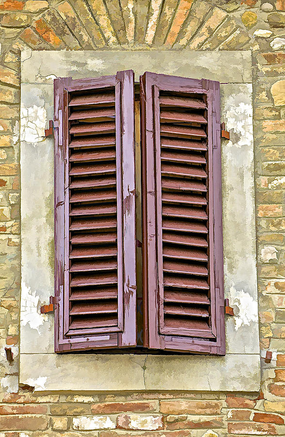 Brown Wooden Shutters : Brown wood shutters on an exposed brick wall in tuscany