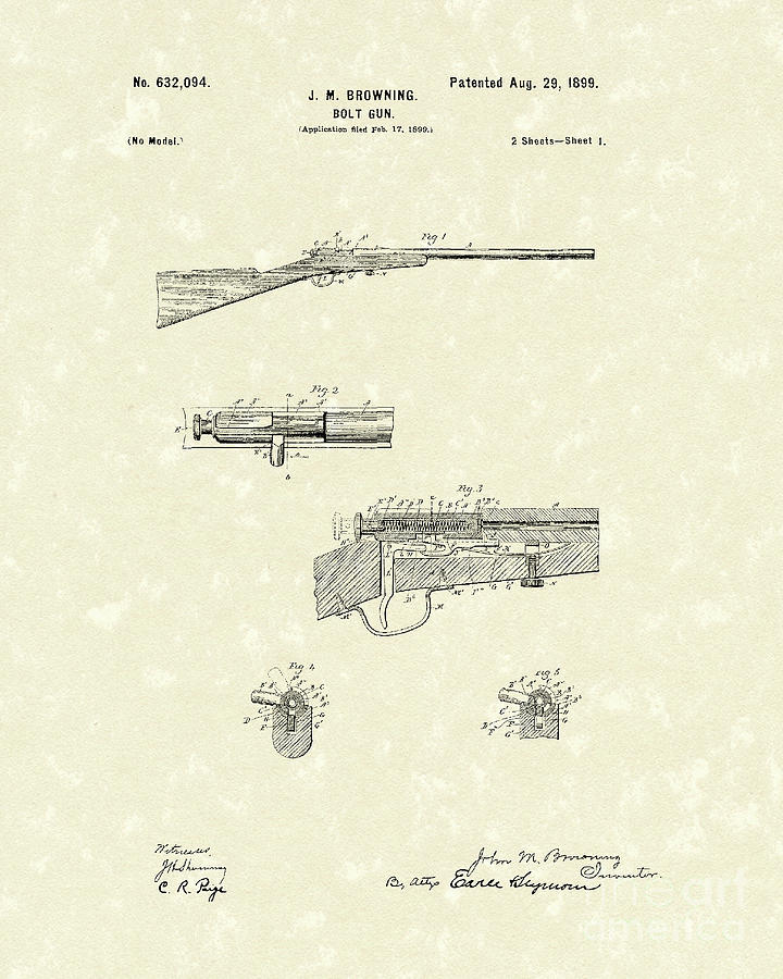 Browning Bolt Gun 1899 Patent Art Drawing  - Browning Bolt Gun 1899 Patent Art Fine Art Print