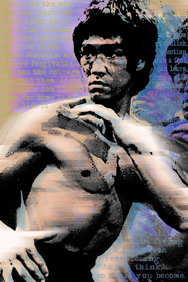 Bruce lee and quotes painting by tony rubino for Lee s painting