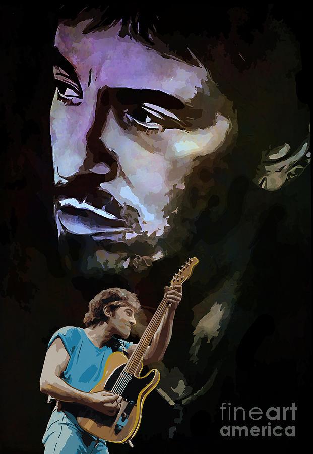 Bruce Painting - Bruce Springsteen. by Andrzej Szczerski