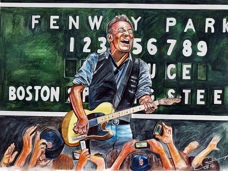 Bruce Springsteen At Fenway Park Drawing