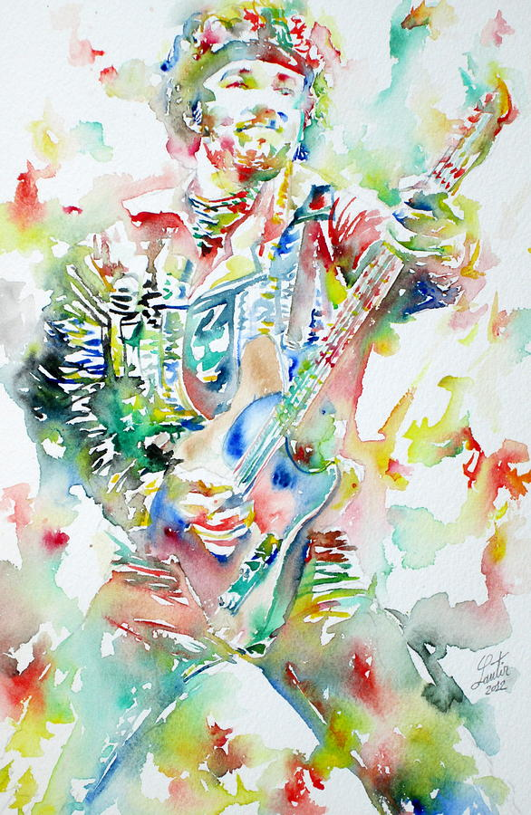 Bruce Springsteen Playing The Guitar Watercolor Portrait Painting