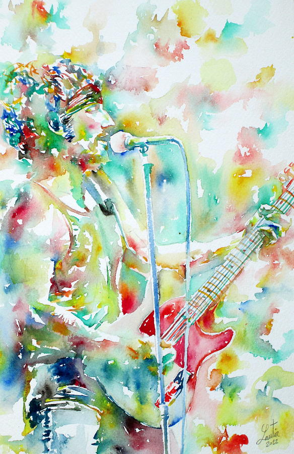 Bruce Springsteen Playing The Guitar Watercolor Portrait.1 Painting  - Bruce Springsteen Playing The Guitar Watercolor Portrait.1 Fine Art Print