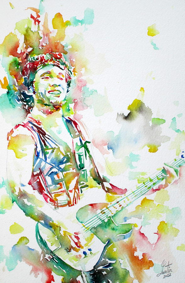 Bruce Springsteen Playing The Guitar Watercolor Portrait.2 Painting  - Bruce Springsteen Playing The Guitar Watercolor Portrait.2 Fine Art Print