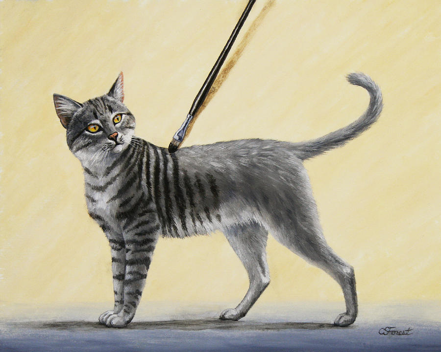 Brushing The Cat - No. 2 Painting  - Brushing The Cat - No. 2 Fine Art Print
