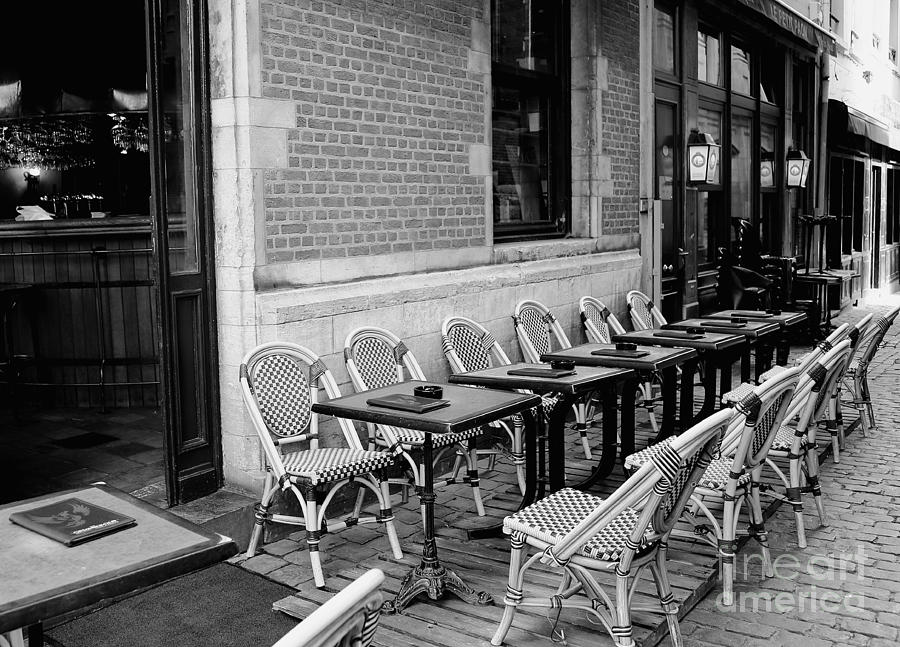 Brussels Cafe In Black And White Photograph