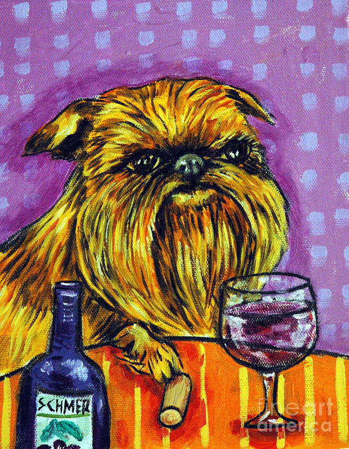 Brussels Griffon At The Wine Bar Painting  - Brussels Griffon At The Wine Bar Fine Art Print
