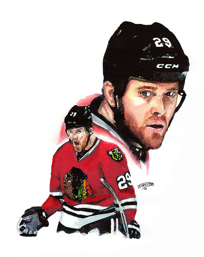 Chicago Blackhawks National Hockey League Sports Portrait  Stanley Cup Playoffs Painting - Bryan Bickell by Jerry Tibstra