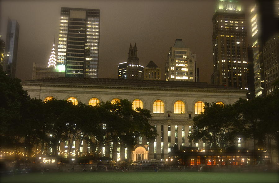 Bryant Park In New York City At Night Photograph  - Bryant Park In New York City At Night Fine Art Print