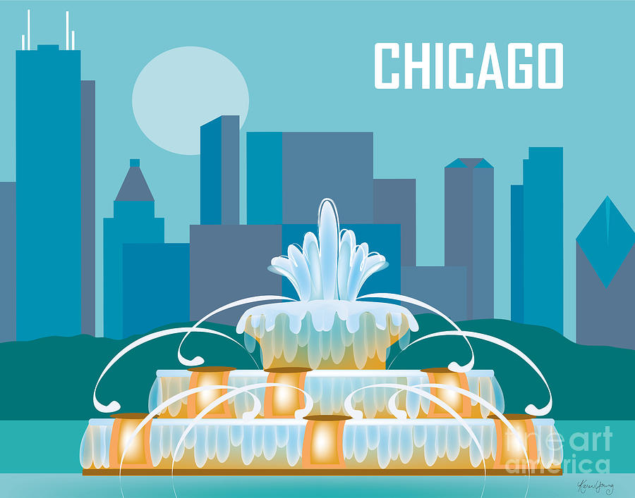 Chicago Digital Art - Buckingham Fountain Chicago by Karen Young