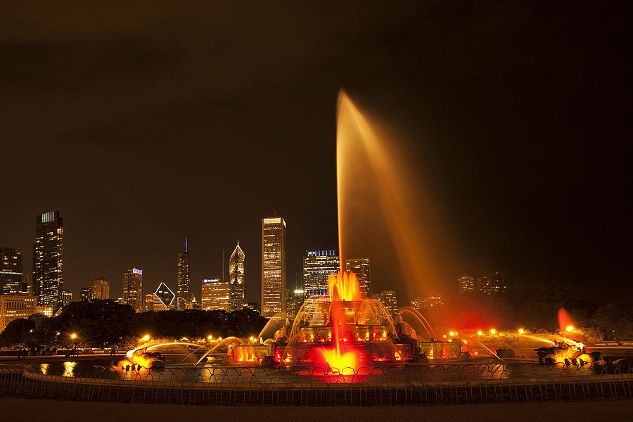 Buckingham Fountain Illuminated Photograph  - Buckingham Fountain Illuminated Fine Art Print