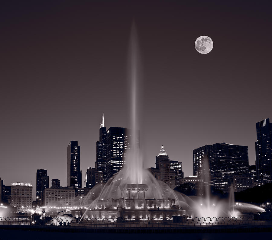 Buckingham Fountain Nightlight Chicago Bw Photograph