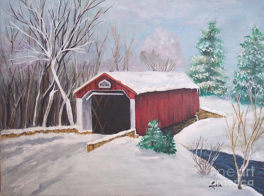 Winter Painting - Bucks County Covered Bridge by Lucia Grilletto