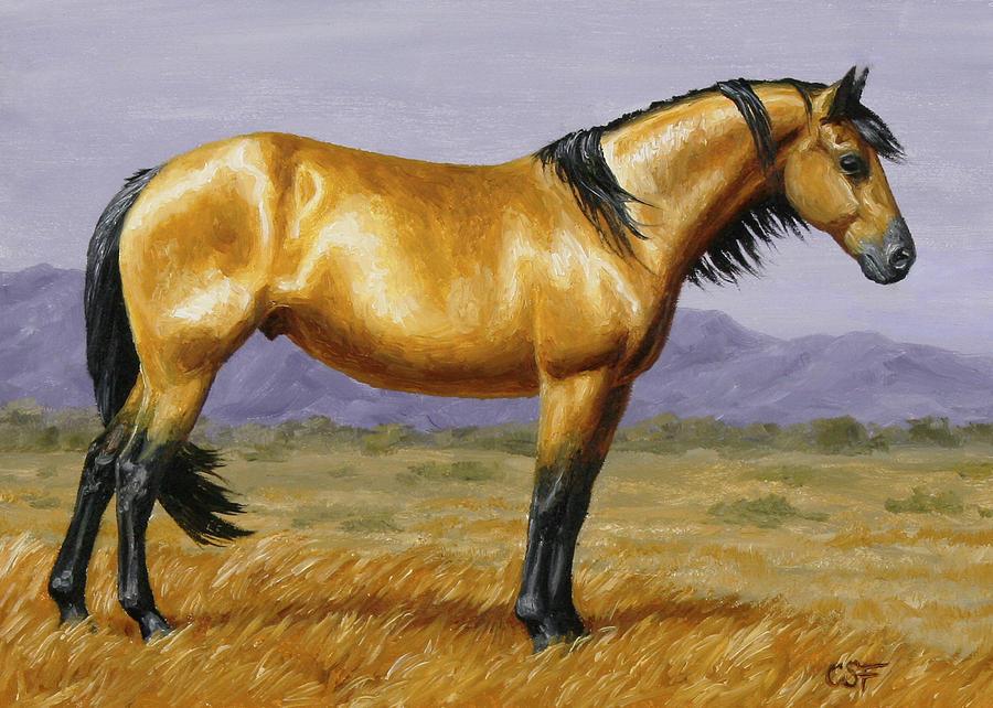 Buckskin Mustang Stallion Painting
