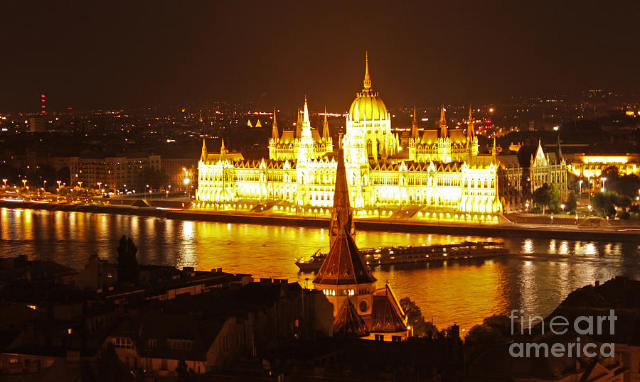Budapest Photograph - Budapest At Night by Gregory Dyer