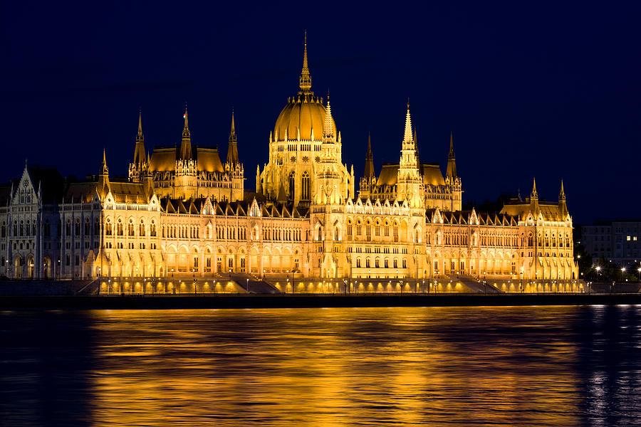 Budapest Parliament At Night Photograph