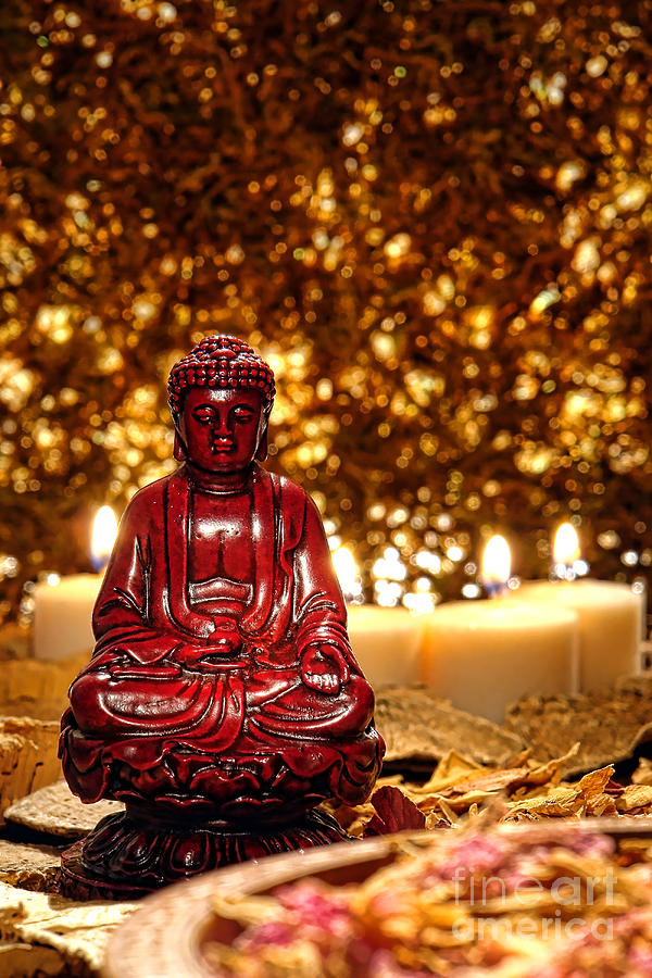 Buddha And Candles Photograph  - Buddha And Candles Fine Art Print