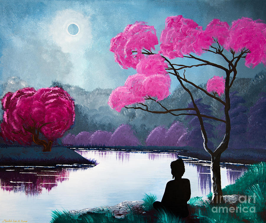 buddha by the lake painting by mindahlee kumar, Greeting card